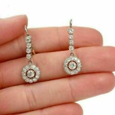 Vintage Art Deco 1.00 Ct Round Diamond Drop Dangle Earrings 14K White Gold Over