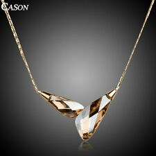 Gold Austrian Crystal Chain Necklace Fashion 18k Yellow Gold Plated Jewelry