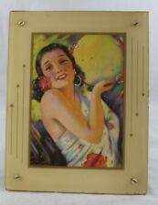 Vintage Q. Wilson Trammell Art Deco Framed Beautiful Spanish Woman Pin-up Babe