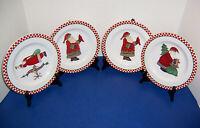 "Sakura Debbie Mumm ""Magic of Santa"" 4 Salad Plates (8"") Red Checkered Border"