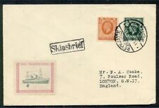 ICELAND 1936 Ship letter posted on board w/GB stamps, transferred to Reykjavik