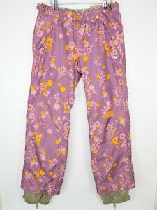 Foursquare Womens Size M Insulated Snowboard Pants Purple Flower