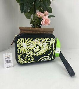 New Michael Kors Wristlet Graffiti Belt Bag Black Leather Neon Print B21