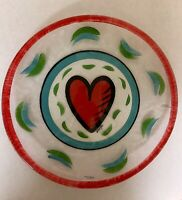 "Vintage Kosta Boda Signed Ulrica Hydman Vallien Heart 13"" Art Glass Platter"