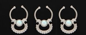 1x Steel White Opal Septum Hanger No Piercings Needed Clip On Nose Fake Silver