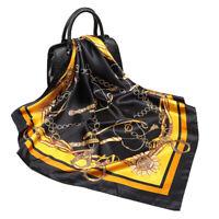 """Women's Black Chains Euro Fashion Printed Soft Satin Square Shawl Scarf 35""""*35"""""""