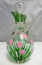 Clear Glass Hand Painted Flowers & Ladybugs Oil Or Vinegar Cruet