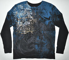 Archaic Affliction Black Blue Gold Thermal Long Sleeve Shirt 2XL Runs Small MINT