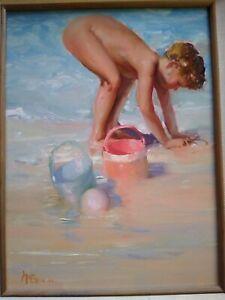 Original Oil Painting by Listed Artist Buck McCain Child On The Beach Precious