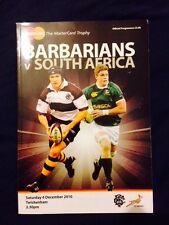 Barbarians V South Africa Rugby Union Programme