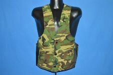 vintage 80s Woodland Camouflage Camo Hunting Green Brown Crisp Vest Small S