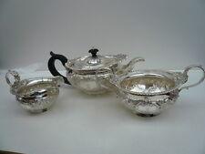 Silver Tea Set, Sterling, antique, 3 pièces, anglais, Théière, Hallmarked 1901