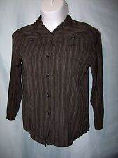 Multi-Color Striped Rayon Long Sleeve Casual Button Down Shirt Size M