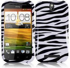 For Cricket HTC ONE SV HARD Protector Case Snap On Phone Cover Zebra