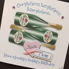Hand-Made Personalised Prosecco BIRTHDAY Card