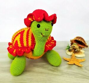 Crochet Turtle Toy Handmade Turtle Amigurumi Knit Turtle Stuffed Sea Animals Toy