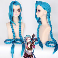 Party Wig Costume Game Of LOL Jinx Blue Cosplay Synthetic Hair Wig 100cm