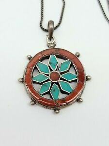 RARE VINTAGE STERLING SILVER TURQUOISE CORAL CAPTAIN'S SHIP WHEEL HELM PENDANT