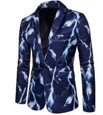 Men Business Simple Blazers Floral Lapel One Button Coats Feather Wedding Blue