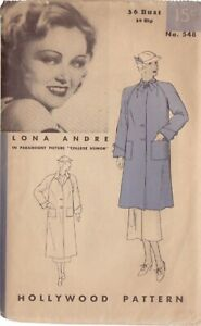 HOLLYWOOD PATTERN 548, 40'S SWAGGER COAT SZ 18 FEATURING LONA ANDRE