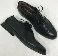 Johnston Murphy Black Sheepskin Leather Wingtip Brogue Mens Oxfords Size 8.5 M
