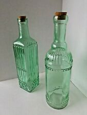 300CC GREEN GLASS PYRAMID BOTTLE WITH CORK
