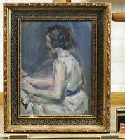 Antique Oil Expressive Portrait Author Paris Drouant Beaux Arts 福井丈 Fukui ?