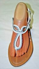 WOMENS TWO TONE LOOPY BRAIDED GLADIATOR OPEN TOES THONG SANDALS  8 9 10