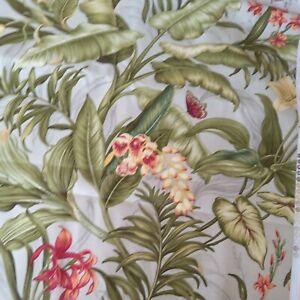 "Waverly Hibiscus Wailea Coast Fabric 4Yd x 54"" Sun N Shade Tropical Forest"