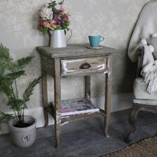 Rustic 1 drawer bedside lamp side table weather wood bedroom furniture storage