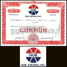 Hub Airlines Inc In 1969 Stock Certificate