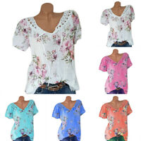 Womens Plus Size Boho Floral Lace T Shirt Short Sleeve Casual Summer Blouse Tops