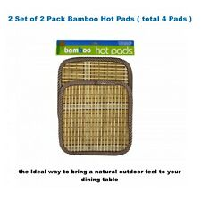 4 Natural Bamboo Hot Pads Protect Table Counter Top Potholder Kitchen Accessory