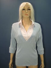 plus size 2X blue and white stretchy collared faux 2-piece blouse by PARIS BLUES