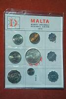 Malta Decimal Coins 1972, 1-50 ct, 2-5 mils, 2 LM, Stempelglanz, eingeschweißt