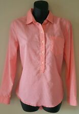 Womens top Old Navy small button down blouse pink shirt half button long sleeve