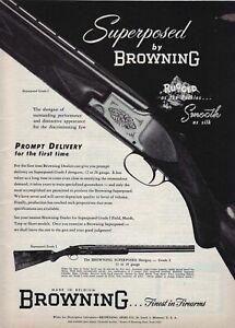 1953 magazine ad for Browning Rifles - Browning Superposed Shotgun, Grade 1