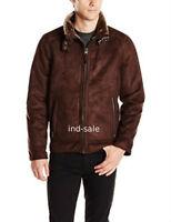 Custom Tailor Made All Size Genuine Dark Brown Suede Leather Jacket Aviator Fur