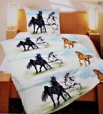 2 tlg. Kinder BETTWÄSCHE Pferde 135x200cm+80x80cm Baumwolle Reißverschluss NEU