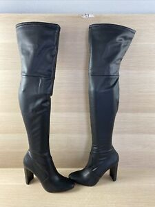ALDO Black Synthetic Leather Side Zip Block Heel Thigh High Boots Women's Size 8