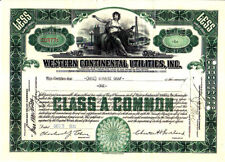 Western Continental Utilities, Inc. 1930 Stock Certificate