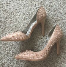 Sam Edelman Studded Spikes Beige Rose Gold Comfy Shoes Heels Pumps Size 9 Party