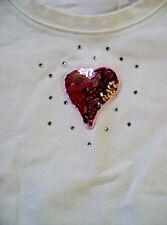 LIMITED TOO WHITE T-SHIRT TOP WITH METALLIC PINK HEART ACCENT SIZE SMALL (10)