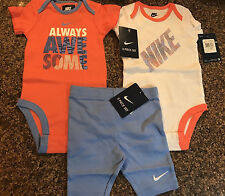 NWT NIKE Baby Girls' 3 Piece Outfit, Chalk Blue & Coral 3-6 Months