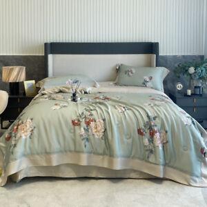 Luxury Flower Printed Tencel Summer Quilt Blanket Flat Sheet Bed CoverPillowcase