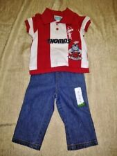 Jumping Beans Toddler Boy Denim Jeans Elastic Waist Pants Size 18M + Shirt