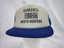 trucker hat baseball cap SIMEK'S MEATS-SEAFOOD retro snapback cool mesh 1980