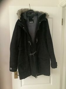 womens bench hoodie Jacket Black /Gray Size XL zip and toggle fur lined hood