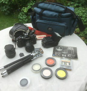 Canon A-1 35mm SLR Film Camera - Black with 50mm F1.4 lens plus 35-70 Lens