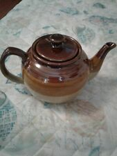 Vintage Brown & Tan Ceramic Teapot Made In China Lidded Glazed Pot